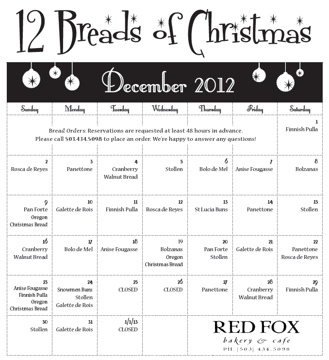 Red Fox Bakery 12 Breads of Christmas